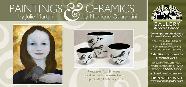 Paintings and Ceramic on display at Marks and Gardner Mount Tamborine