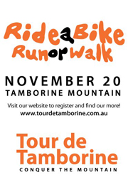 Poster for Tour de Tamborine fun family event on Tamborine Mountain