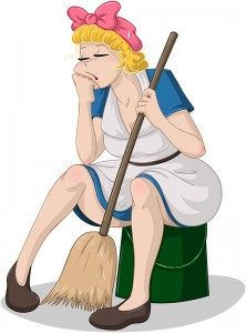 cartoon spring cleaning lady with mop