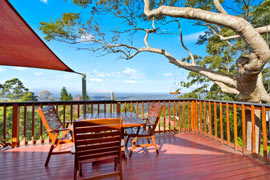 Great views from the large deck at Tamborine Mountain Bed and Breakfast