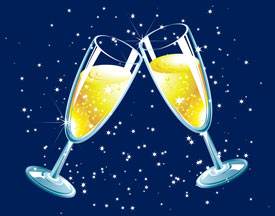 Two glasses of champagne clinked in toast - illustration