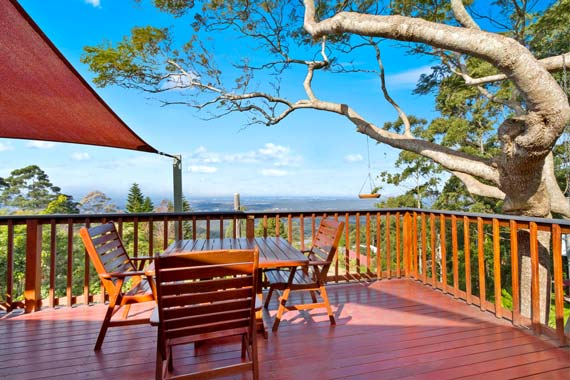 Great view from the large deck at Tamborine Mountain Bed and Breakfast