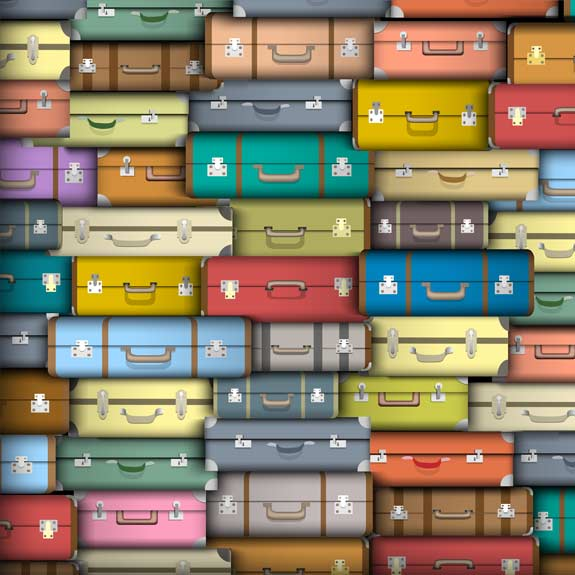 Stack of suitcases for travelling